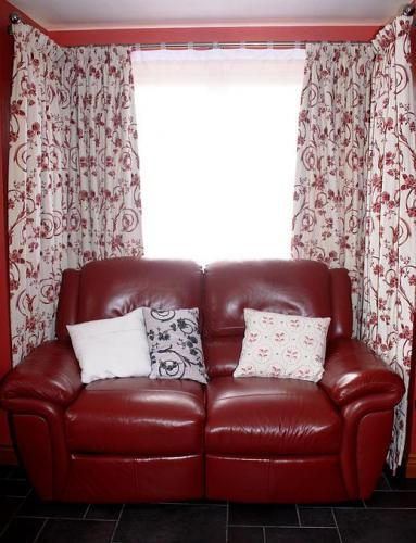 Fully lined curtains and handmade cushions